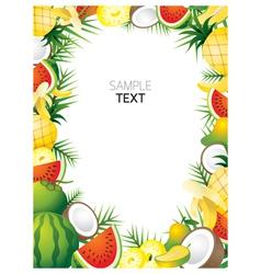 Mixed Tropical Fruits Frame Border vector image