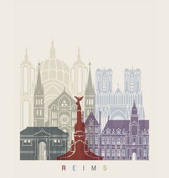 reims skyline poster vector image vector image