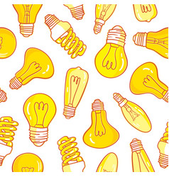 seamless pattern with light bulbs hand drawn vector image vector image