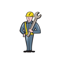 Construction Worker Spanner Isolated Cartoon vector image vector image