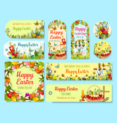 Easter holiday symbols tag and greeting poster set vector