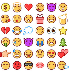 emoji faces simple icons thin line symbols vector image vector image