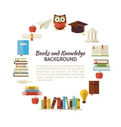Flat Style Circle Template of Books Education and vector image vector image