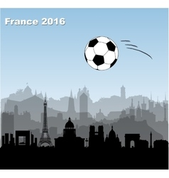 France cities skylines with soccer ball vector image vector image