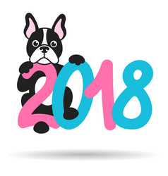 french bulldog and 2018 vector image vector image