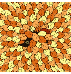 hedgehog in autumn leafs vector image