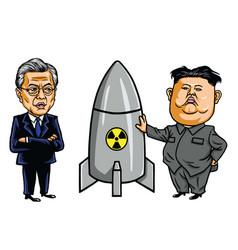 kim jong un vs moon jae in cartoon vector image vector image
