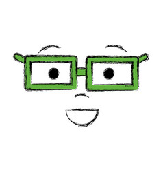 Man face with eyes mouth nose and glases vector
