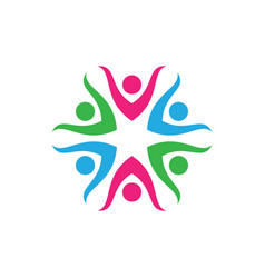 people circle teamwork logo icon element colorful vector image