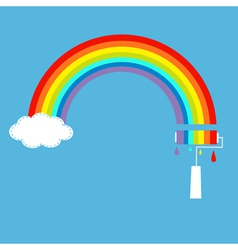 Rainbow cloud in the sky and paint roller vector image