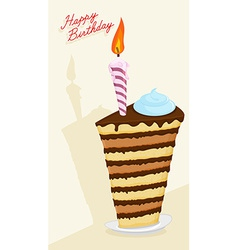 Cartoon High cake Happy birthday postcard vector image vector image