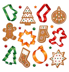 christmas cookies and cookie cutters vector image vector image