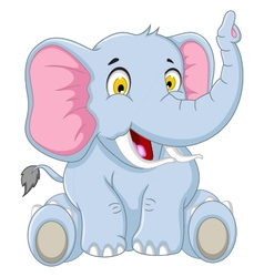 happy elephant cartoon vector image vector image