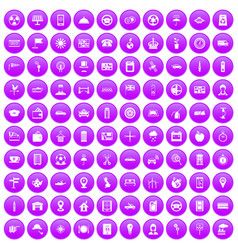 100 taxi icons set purple vector image
