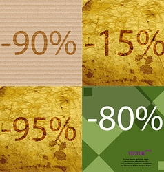 15 95 80 icon Set of percent discount on abstract vector