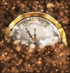 2017 New Year Midnight Glowing Background with vector image