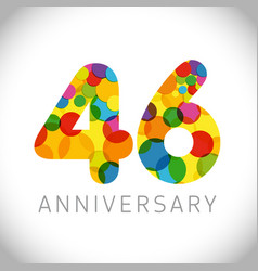 46 years anniversary circle colorful logo vector