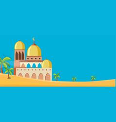 A mosque in desert scene vector