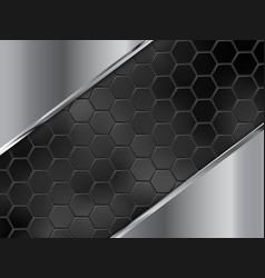 abstract silver and black background with hexagons vector image