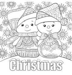 adult coloring bookpage a pair snowmen vector image