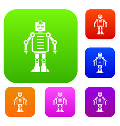 artificial intelligence robot set color collection vector image