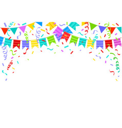 birthday bunting flags ribbons and confetti vector image