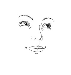 Black and white of lady face delicate visage vector