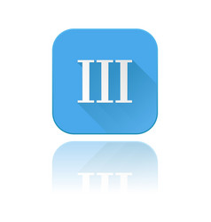 Blue icon with iii roman numeral with reflection vector