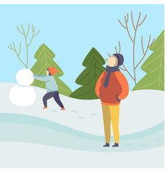 boys making snowman winter season outdoor vector image