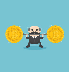 businessman lifts coin very heavy fall of bitcoin vector image