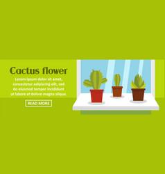 Cactus flower banner horizontal concept vector