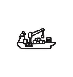Cargo container ship sketch icon vector