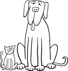 cat and dog cartoon for coloring book vector image