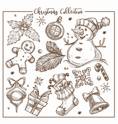 christmas collection of symbolic traditional vector image