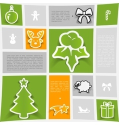 Christmas sticker infographic vector image