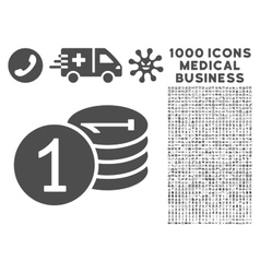 Coins Icon with 1000 Medical Business Symbols vector