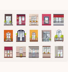 Collection of windows and balconies of modern and vector
