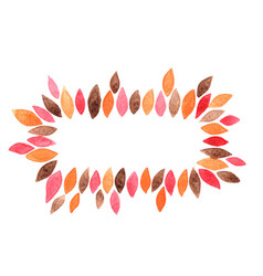 Colorful autumn leaves wreath watercolor vector