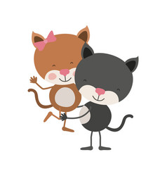 Colorful caricature with couple of kittens one vector