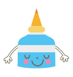 Colorful emoiji cute happy glue bottle vector