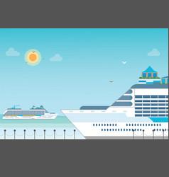 cruise ship anchored at sea port vector image