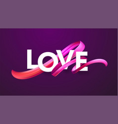 cut paper letters word love on red color vector image