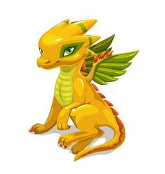 Cute catoon yellow fantasy dragon fantastic vector