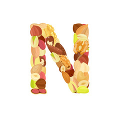 delicious letter made from different nuts n vector image