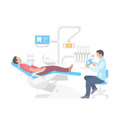 dentist and man in dentist chair vector image