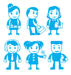 different characters in blue color vector image
