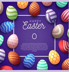 easter egg frame happy easter cute banner vector image