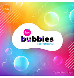 fun liquid color background with bubbles fluid vector image