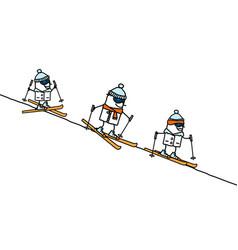 Hand drawn characters - skiing family vector
