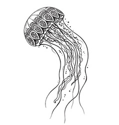 Hand drawn jellyfish in black and white doodle vector image